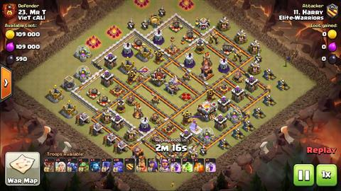 TH11 vs TH11 Queen Walk Bowlers Witches P.E.K.K.A. 3 Star